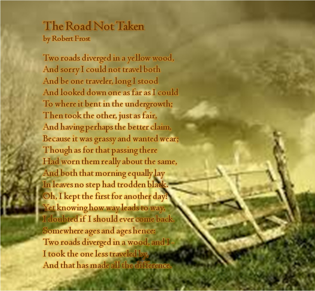 an analysis of the deeper meaning of robert frosts poem on the road Design by robert frost: a malevolent transformation in this sonnet robert frost describes a simple scene from nature --- a spider on a flower (known as a heal.
